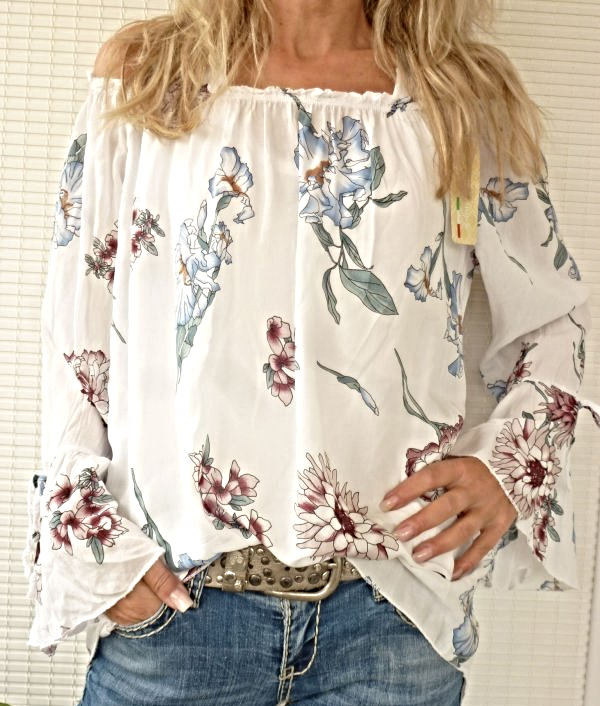 36 38 40 42 Carmen  Bluse  Tunika off shoulder