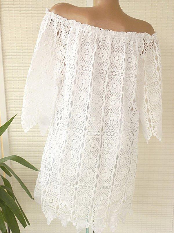 38 40 42 Ibiza Spitzen Kleid long Tunika unterlegt Häkel ...