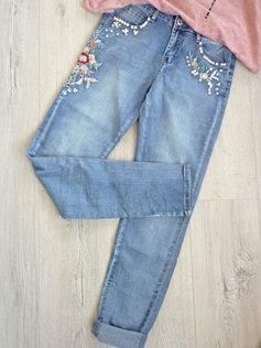 schöne Jeans Hose mit Blumen Stickerei und Perlen länger blau 26f8160202