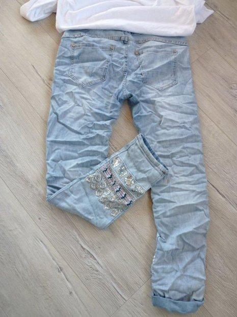 Coole Hose Jeans Stickerei schöne Waschung etwas destroyed - F-M-Store 279d603484